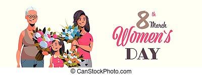 générations, concept, mars, caractères, bouquet, salutation, trois, international, célébrer, femmes, jour, femme, tenue, portrait, 8, horizontal, fleurs, dessin animé, carte, heureux