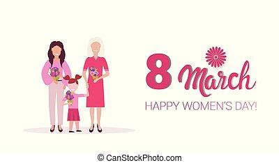 générations, concept, mars, femme, femmes, salutation, trois, international, célébrer, longueur, entiers, jour, caractères, tenue, 8, horizontal, fleurs, dessin animé, carte, heureux