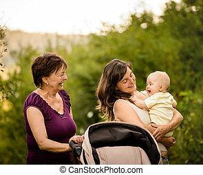 générations, -, grand-mère, mère, bébé