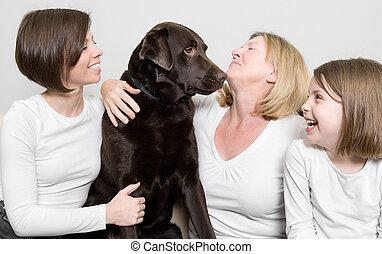 générations, leur, trois, chien famille