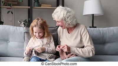 générations, tricot, famille, ensemble, grand-mère, petite-...