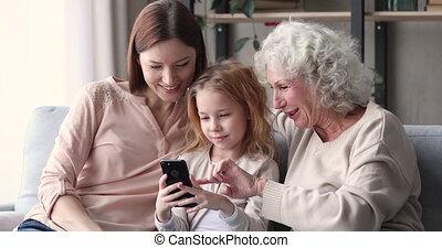 générations, utilisation, famille, mobile, trois, ...