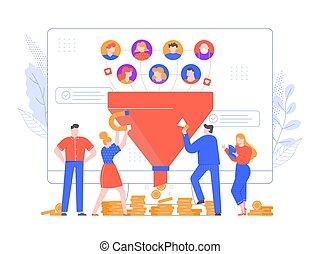 générer, ou, nouveau, ventes, attirer, growth., entonnoir, inbound, marché, plomb, pattes, loyal, generation., conversion, ligne, stratégie, augmenter, vecteur, illustration., monetization, commercialisation