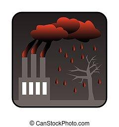 générer, usine, pluie, air, toxique, acide, pollution
