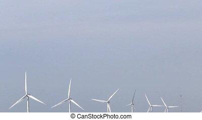 générer, vent, rang, turbines