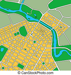 générique, carte, urbain, ville