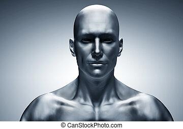 générique, figure, humain, devant, vue., futuriste, homme