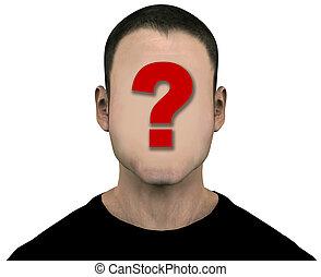 générique, inconnu, figure, anonyme, vide, vide, homme