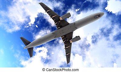 générique, jet, avion ligne, dans, a, beau, ciel nuageux, 3d, rendre