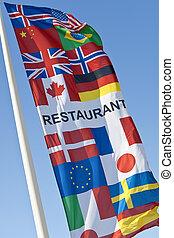 générique, multi, drapeau, national, restaurant