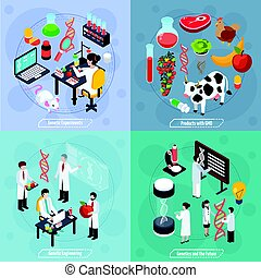 génétique, concept, conception, 2x2