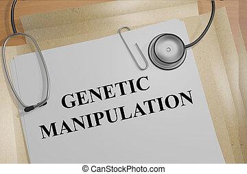 génétique, concept, monde médical, manipulation