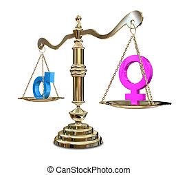 género, desigualdad, el balancear, escala