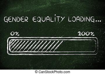 género, igualdad, carga, progess, barra, ilustración
