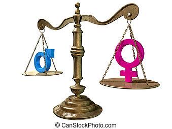 género, igualdad, el balancear, escala