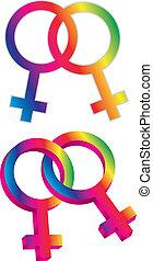género, mismo, sexo, símbolos, ilustración, hembra