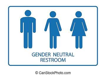 género, neutral, señal de baño