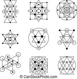 géométrie, éléments, sacré