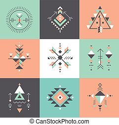 géométrie, ésotérique, tribal, aztèque, symboles, sacré,...