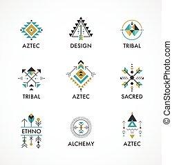 géométrie, ésotérique, tribal, aztèque, symboles, sacré, mystique, formes, alchimie