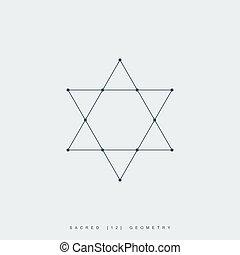 géométrie, étoile, sacré, david