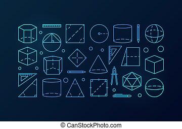 géométrie, bleu, vecteur, illustration