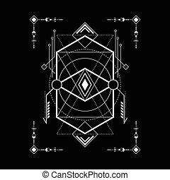 géométrie, brin, cadre, sacré