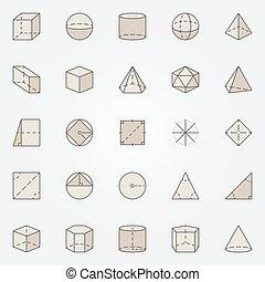 géométrie, coloré, icônes
