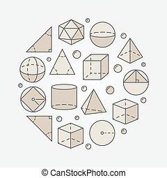 géométrie, coloré, trigonométrie, illustration