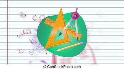 géométrie, concept, équipement, icônes, multiple, contre, école