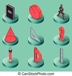 géométrie, couleur, isométrique, icônes