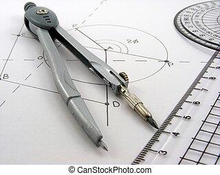 géométrie, diagramme, &, ustensiles