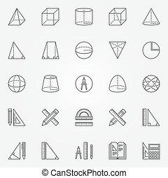 géométrie, ensemble, icônes