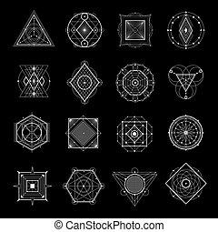 géométrie, ensemble, noir, sacré