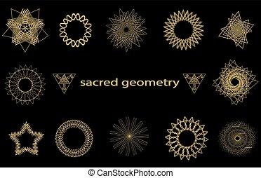 géométrie, ensemble, sacré, éléments