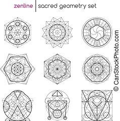 géométrie, ensemble, sacré