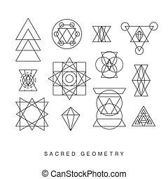 géométrie, ensemble, sacré, signes