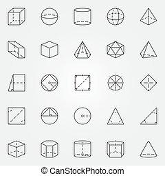 géométrie, ensemble, trigonométrie, icônes