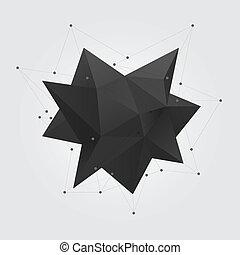 géométrie, figure., résumé, star., poly, polygonal, forme, noir, bas, géométrique, 3d