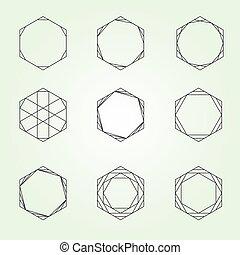 géométrie, hexagone, ensemble, sacré