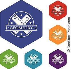 géométrie, hexahedron, vecteur, icônes
