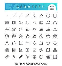 géométrie, ligne, ensemble, icônes