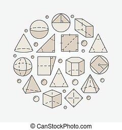 géométrie, mathématiques, coloré, illustration