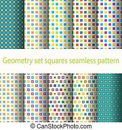 géométrie, modèle, ensemble, carrés, seamless