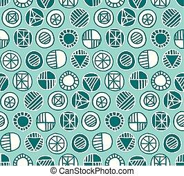géométrie, modèle, seamless, main, vecteur, dessiné, rond