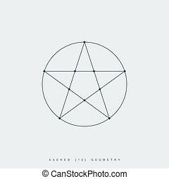 géométrie, pentagram, sacré