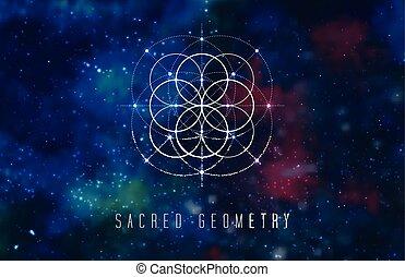 géométrie, résumé, cosmique, élément, arrière-plan., vecteur...