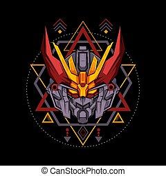 géométrie, ramure, sacré, rouges, robot