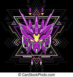 géométrie, robot, sacré, violet