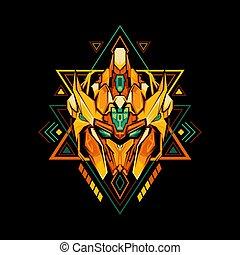 géométrie, roi, robot, sacré, doré